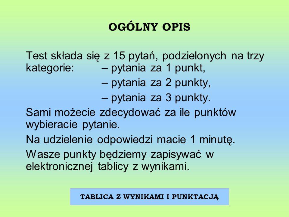 OGÓLNY OPIS Test składa się z 15 pytań, podzielonych na trzy kategorie: – pytania za 1 punkt, – pytania za 2 punkty, – pytania za 3 punkty. Sami możec
