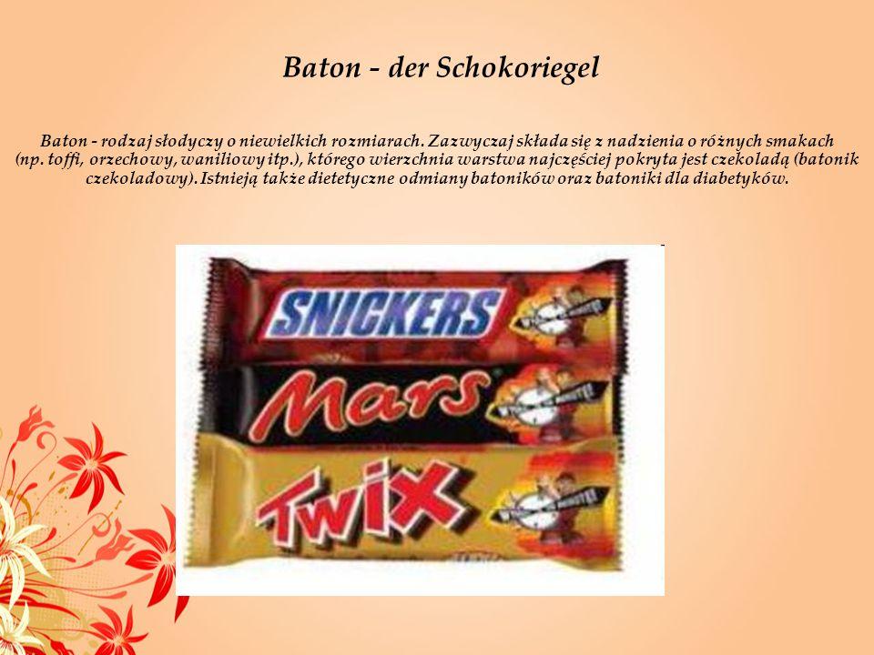 Baton - der Schokoriegel Baton - rodzaj słodyczy o niewielkich rozmiarach. Zazwyczaj składa się z nadzienia o różnych smakach (np. toffi, orzechowy, w