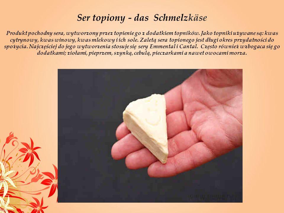 Ser topiony - das Schmelzkäse Produkt pochodny sera, wytworzony przez topienie go z dodatkiem topników. Jako topniki używane są: kwas cytrynowy, kwas