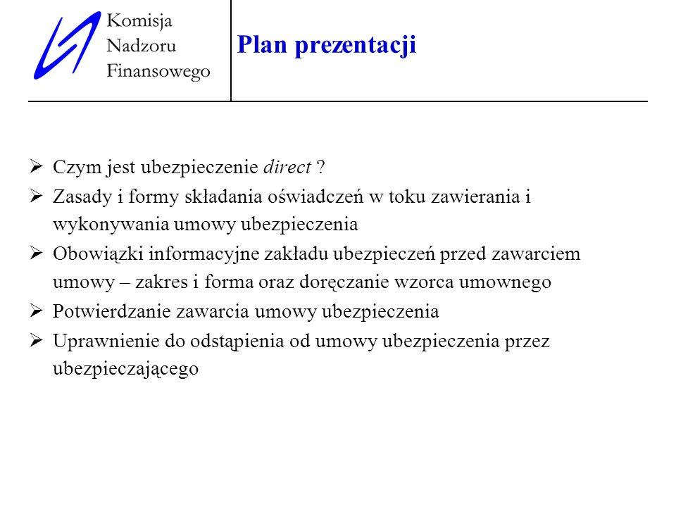 2 Plan prezentacji Czym jest ubezpieczenie direct ? Zasady i formy składania oświadczeń w toku zawierania i wykonywania umowy ubezpieczenia Obowiązki