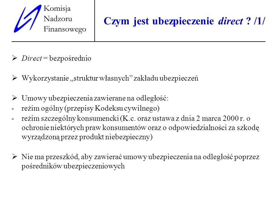 3 Czym jest ubezpieczenie direct ? /1/ Direct = bezpośrednio Wykorzystanie struktur własnych zakładu ubezpieczeń Umowy ubezpieczenia zawierane na odle
