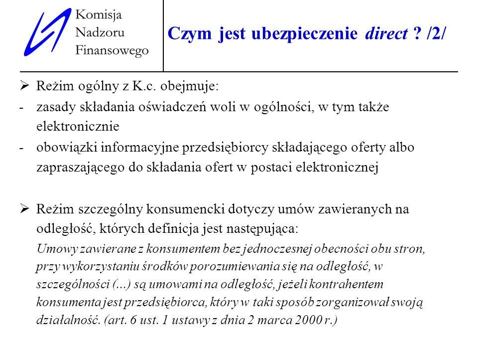 4 Czym jest ubezpieczenie direct ? /2/ Reżim ogólny z K.c. obejmuje: -zasady składania oświadczeń woli w ogólności, w tym także elektronicznie -obowią