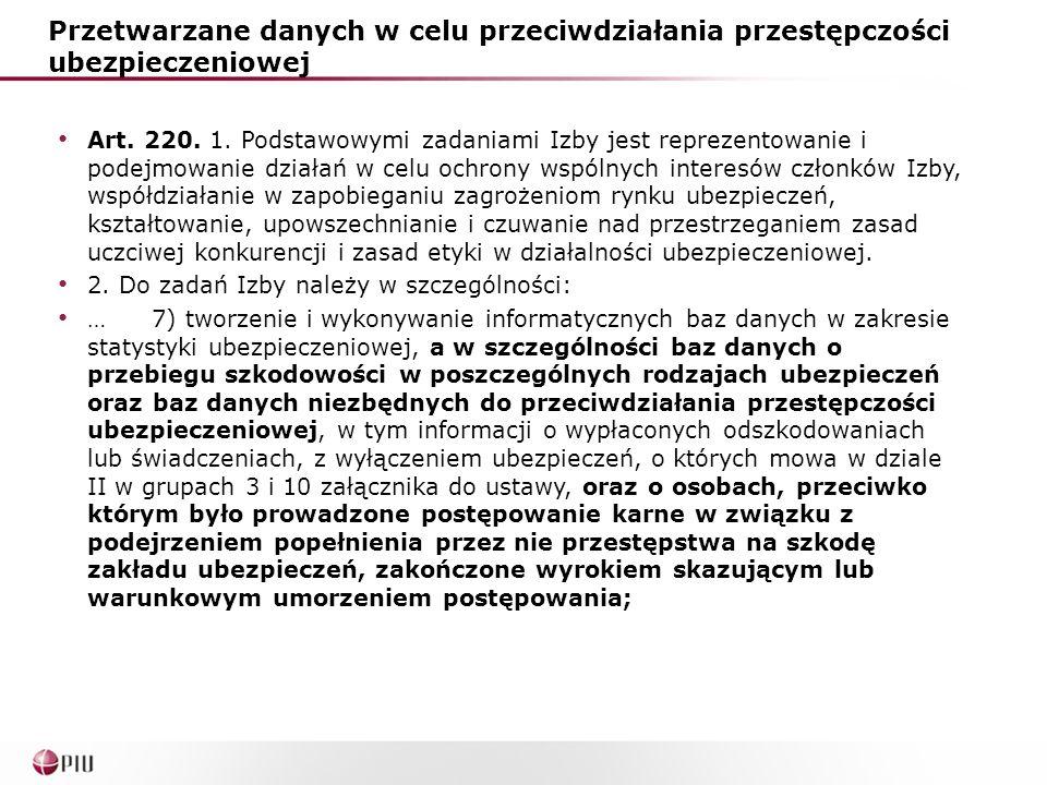 Przetwarzane danych w celu przeciwdziałania przestępczości ubezpieczeniowej Art. 220. 1. Podstawowymi zadaniami Izby jest reprezentowanie i podejmowan
