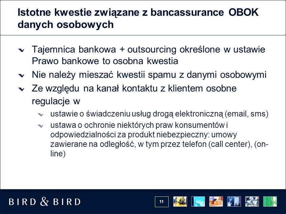11 Istotne kwestie związane z bancassurance OBOK danych osobowych Tajemnica bankowa + outsourcing określone w ustawie Prawo bankowe to osobna kwestia