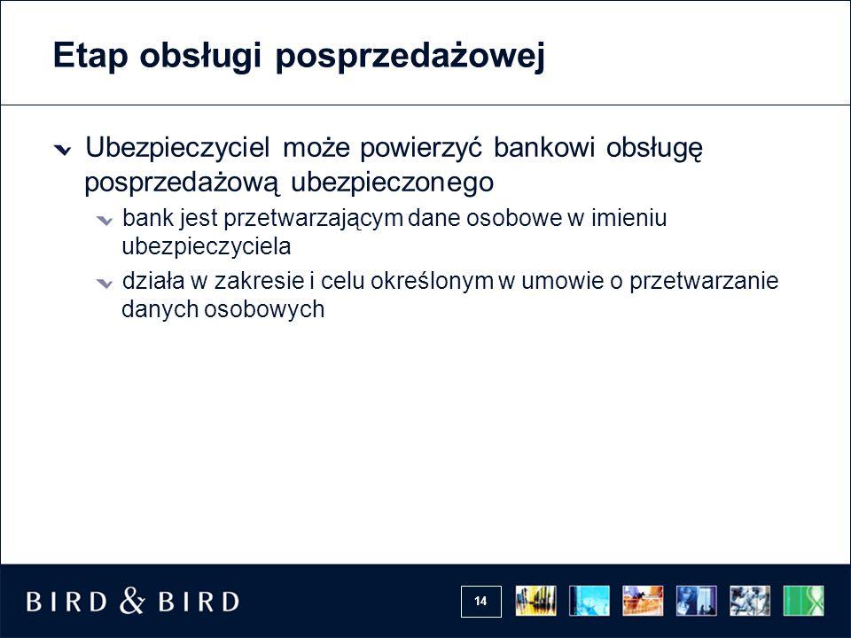 14 Etap obsługi posprzedażowej Ubezpieczyciel może powierzyć bankowi obsługę posprzedażową ubezpieczonego bank jest przetwarzającym dane osobowe w imi