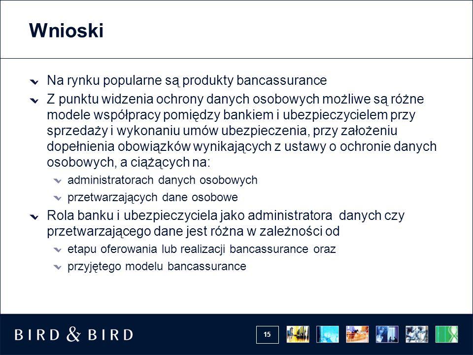 15 Wnioski Na rynku popularne są produkty bancassurance Z punktu widzenia ochrony danych osobowych możliwe są różne modele współpracy pomiędzy bankiem