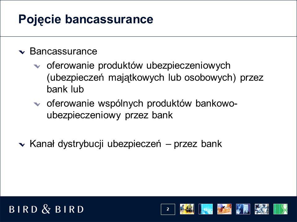 2 Pojęcie bancassurance Bancassurance oferowanie produktów ubezpieczeniowych (ubezpieczeń majątkowych lub osobowych) przez bank lub oferowanie wspólny