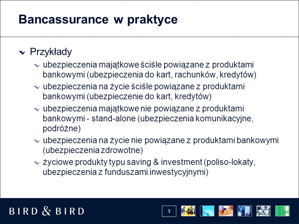 3 Bancassurance w praktyce Przykłady ubezpieczenia majątkowe ściśle powiązane z produktami bankowymi (ubezpieczenia do kart, rachunków, kredytów) ubez