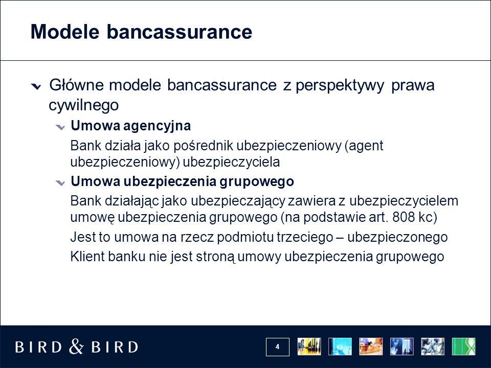 4 Modele bancassurance Główne modele bancassurance z perspektywy prawa cywilnego Umowa agencyjna Bank działa jako pośrednik ubezpieczeniowy (agent ube