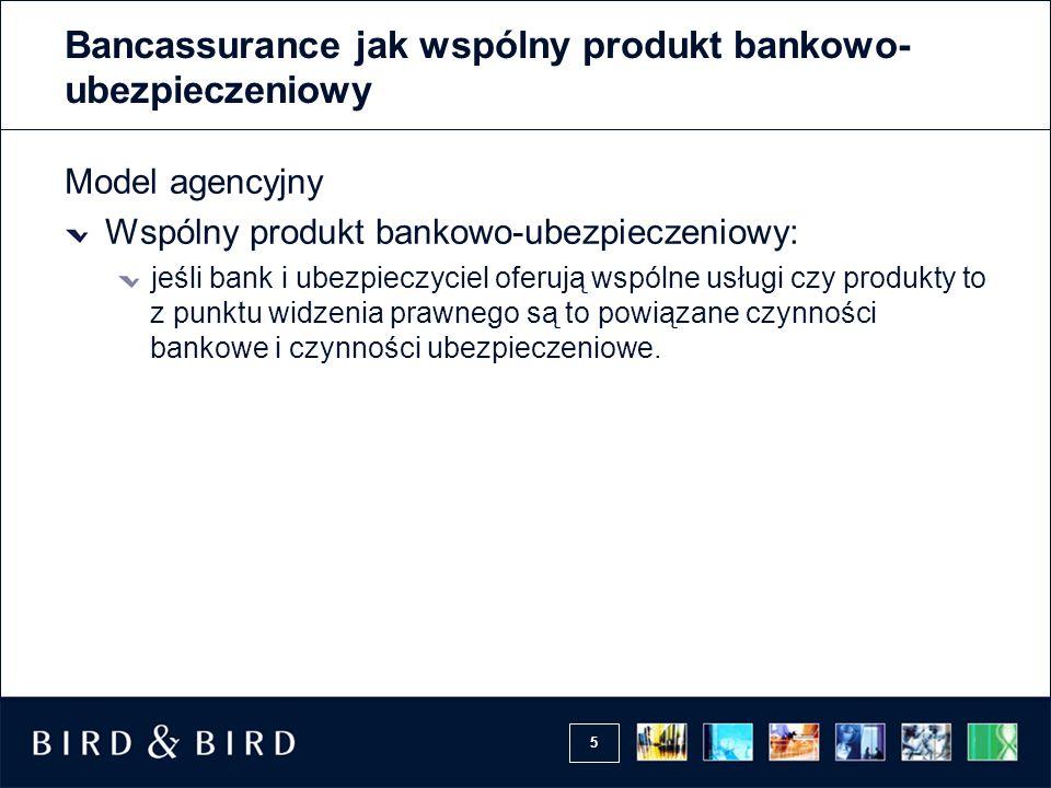 5 Bancassurance jak wspólny produkt bankowo- ubezpieczeniowy Model agencyjny Wspólny produkt bankowo-ubezpieczeniowy: jeśli bank i ubezpieczyciel ofer