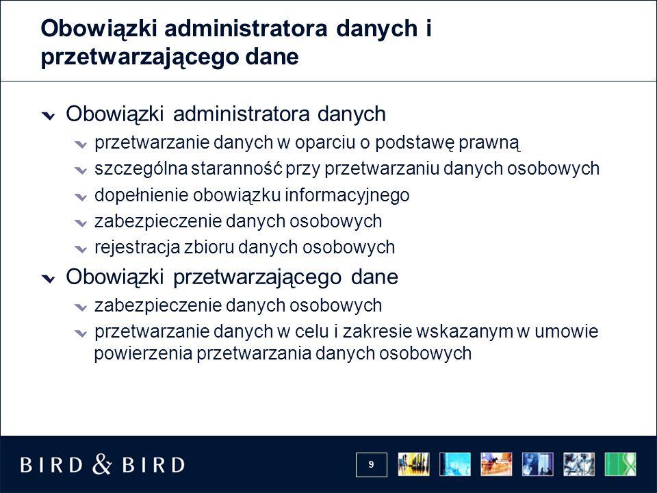 9 Obowiązki administratora danych i przetwarzającego dane Obowiązki administratora danych przetwarzanie danych w oparciu o podstawę prawną szczególna
