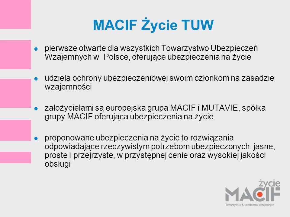 MACIF Życie TUW pierwsze otwarte dla wszystkich Towarzystwo Ubezpieczeń Wzajemnych w Polsce, oferujące ubezpieczenia na życie udziela ochrony ubezpiec