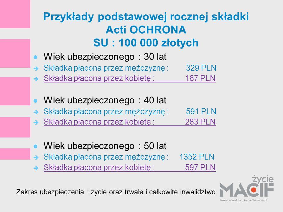 Przykłady podstawowej rocznej składki Acti OCHRONA SU : 100 000 złotych Wiek ubezpieczonego : 30 lat Składka płacona przez mężczyznę : 329 PLN Składka