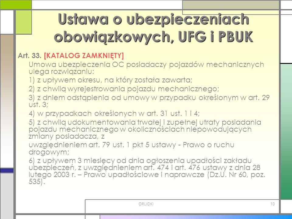 ORLICKI10 Ustawa o ubezpieczeniach obowiązkowych, UFG i PBUK Art. 33. [KATALOG ZAMKNIĘTY] Umowa ubezpieczenia OC posiadaczy pojazdów mechanicznych ule