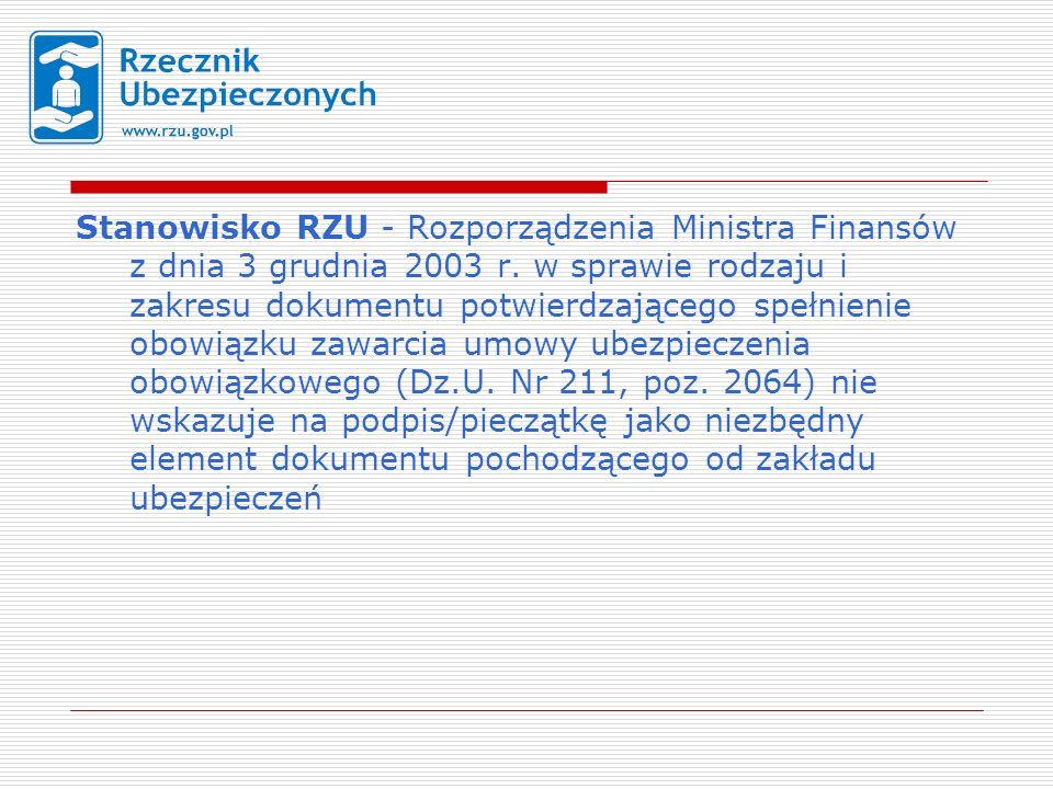 Stanowisko RZU - Rozporządzenia Ministra Finansów z dnia 3 grudnia 2003 r.