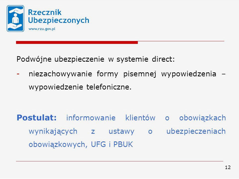 12 Podwójne ubezpieczenie w systemie direct: -niezachowywanie formy pisemnej wypowiedzenia – wypowiedzenie telefoniczne.