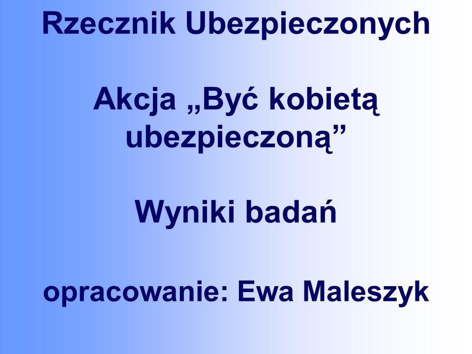 Rzecznik Ubezpieczonych Akcja Być kobietą ubezpieczoną Wyniki badań opracowanie: Ewa Maleszyk