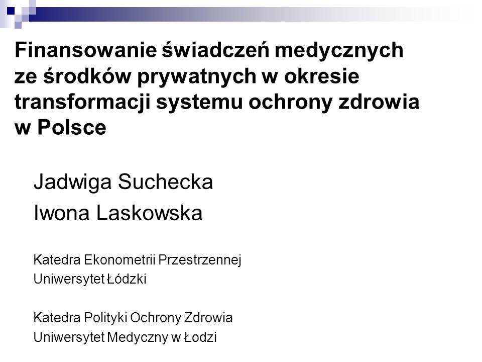 Finansowanie świadczeń medycznych ze środków prywatnych w okresie transformacji systemu ochrony zdrowia w Polsce Jadwiga Suchecka Iwona Laskowska Kate