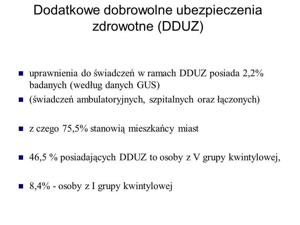 Dodatkowe dobrowolne ubezpieczenia zdrowotne (DDUZ) uprawnienia do świadczeń w ramach DDUZ posiada 2,2% badanych (według danych GUS) (świadczeń ambula