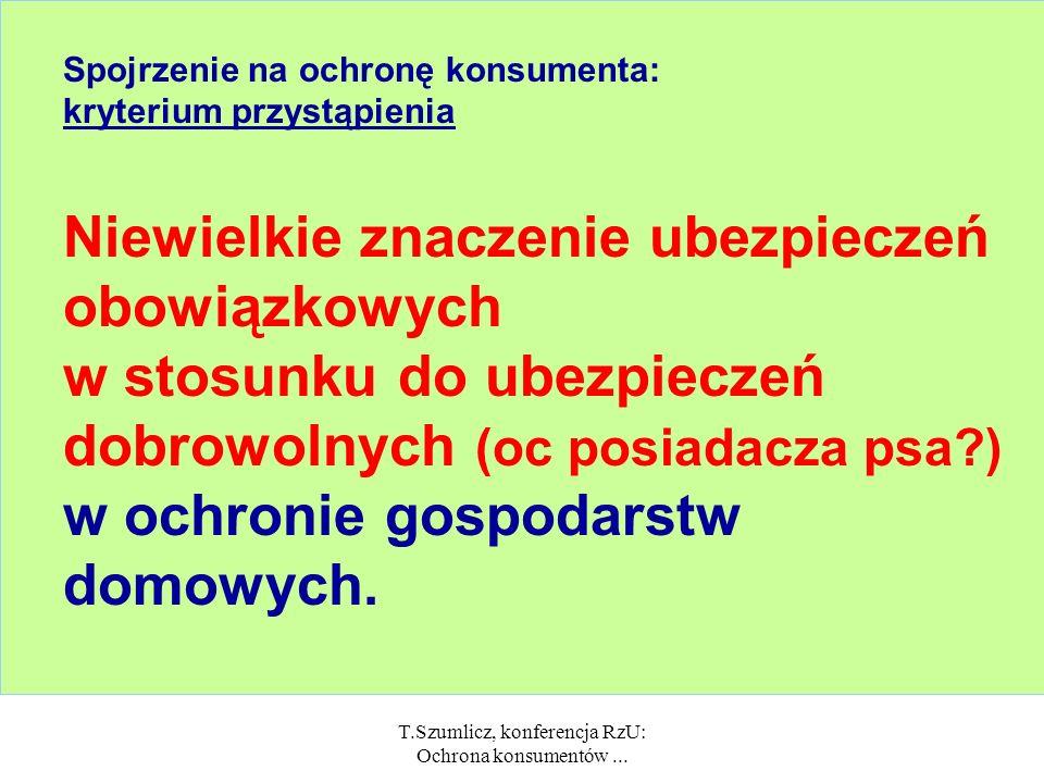 T.Szumlicz, konferencja RzU: Ochrona konsumentów... Spojrzenie na ochronę konsumenta: kryterium przedmiotowe Inne znaczenie ubezpieczeń osobowych = do
