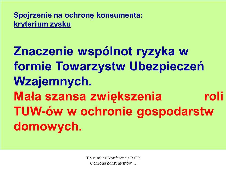 T.Szumlicz, konferencja RzU: Ochrona konsumentów... Spojrzenie na ochronę konsumenta: kryterium przystąpienia Niewielkie znaczenie ubezpieczeń obowiąz
