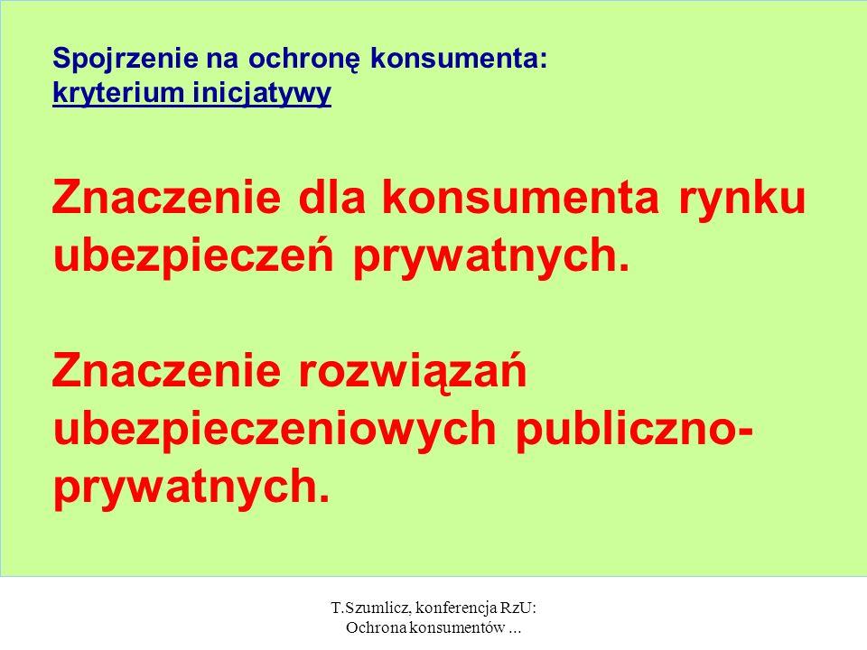 T.Szumlicz, konferencja RzU: Ochrona konsumentów... Spojrzenie na ochronę konsumenta: kryterium zysku Znaczenie wspólnot ryzyka w formie Towarzystw Ub