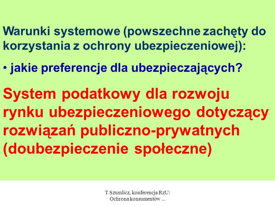 T.Szumlicz, konferencja RzU: Ochrona konsumentów... Czy możliwa jest zmiana polityki ubezpieczeniowej?