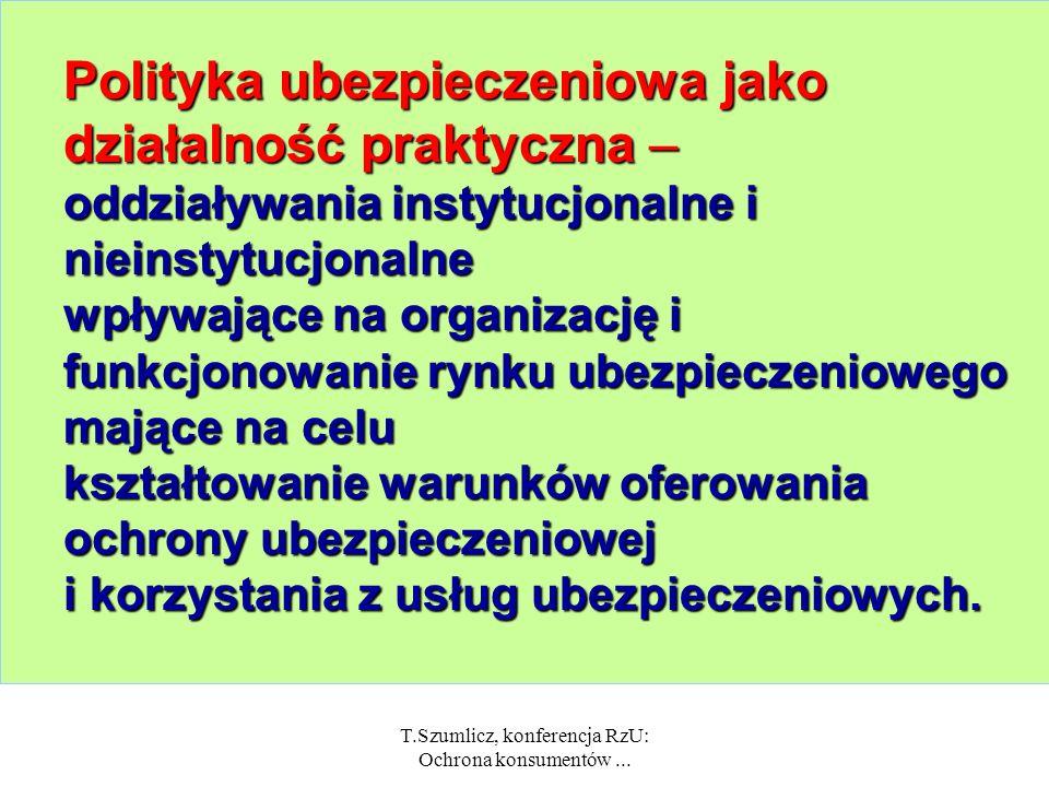 T.Szumlicz, konferencja RzU: Ochrona konsumentów... Ryzyko Działanie w warunkach ryzyka, które dotyczy: życia gospodarczego (przedsiębiorstw) życia pr