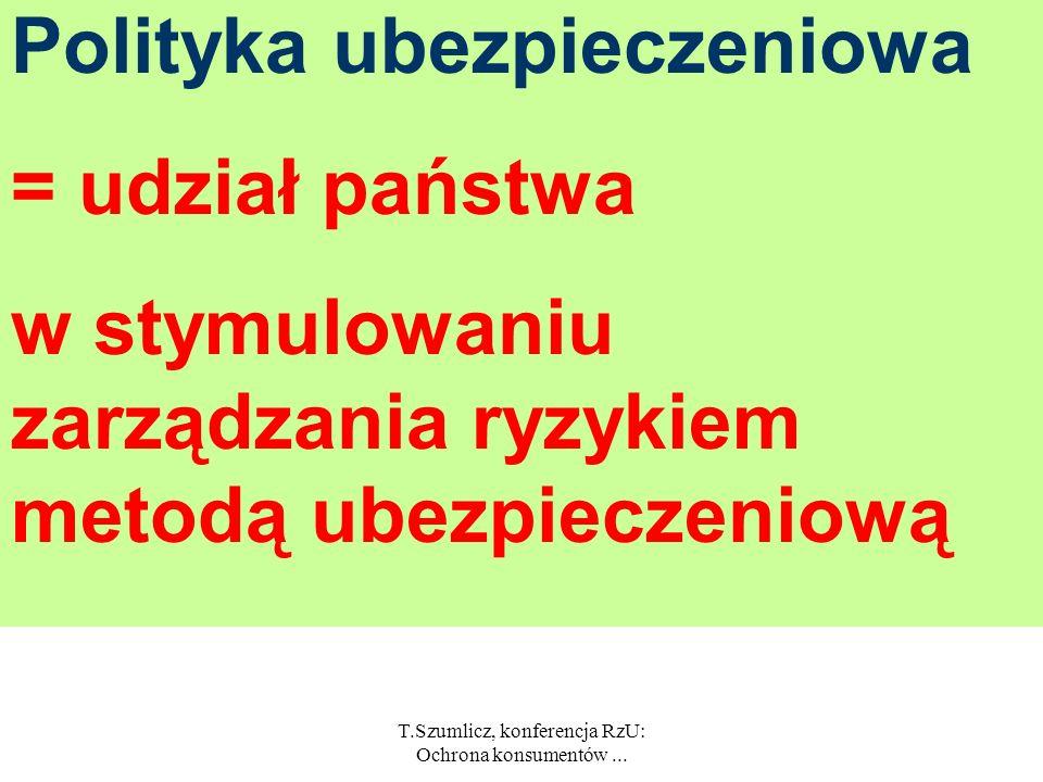 T.Szumlicz, konferencja RzU: Ochrona konsumentów... Polityka ubezpieczeniowa = udział państwa w instytucjonalnym kształtowaniu podaży na rynku ubezpie