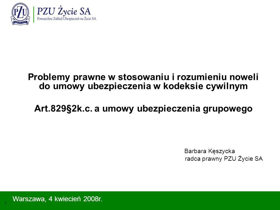 2 Umowa ubezpieczenia grupowego Umowa ubezpieczenia grupowego – powszechne źródło uzyskiwania ochrony ubezpieczeniowej ubezpieczenia grupowe są historycznie starsze od ubezpieczeń indywidualnych i to właśnie od ubezpieczeń grupowych rozwinęła się idea ubezpieczeń, umowy ubezpieczenia grupowego to nie są produkty minionego ustroju, które jako takie należałoby usunąć z polskiego rynku ubezpieczeniowego, pojęcia: ubezpieczenia zbiorowego i polisy zbiorowej posiadają tradycje wywodzące się z teorii i praktyki ubezpieczeniowej Polski przedwojennej, liczba osób ubezpieczonych grupowo przewyższa liczbę osób ubezpieczonych indywidualnie.