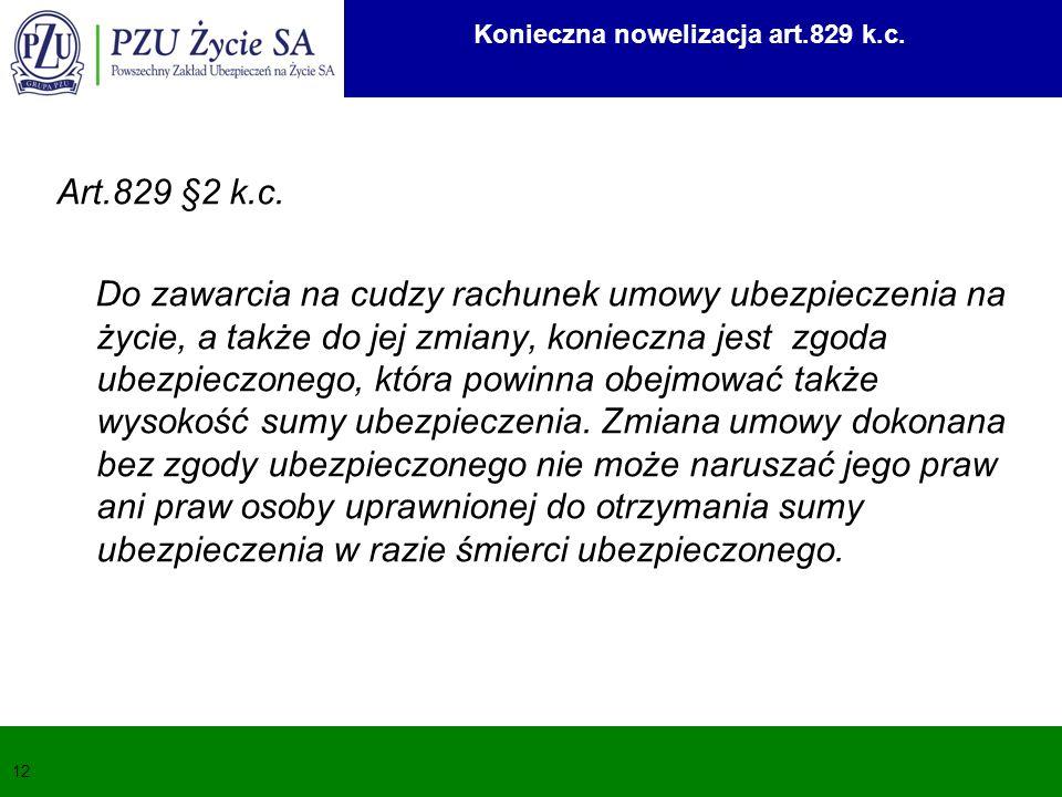 12 Art.829 §2 k.c. Do zawarcia na cudzy rachunek umowy ubezpieczenia na życie, a także do jej zmiany, konieczna jest zgoda ubezpieczonego, która powin
