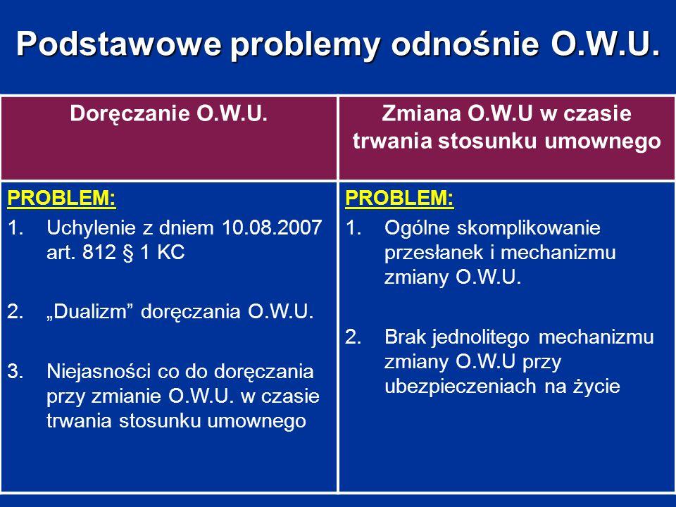 Podstawowe problemy odnośnie O.W.U. Doręczanie O.W.U.Zmiana O.W.U w czasie trwania stosunku umownego PROBLEM: 1.Uchylenie z dniem 10.08.2007 art. 812