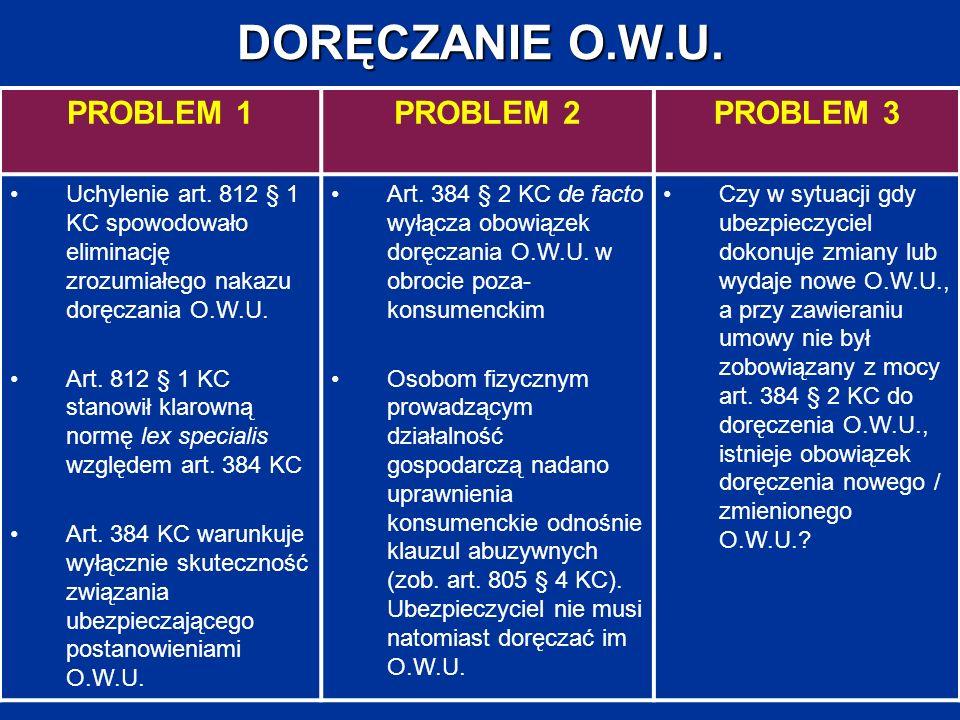 DORĘCZANIE O.W.U. PROBLEM 1PROBLEM 2PROBLEM 3 Uchylenie art. 812 § 1 KC spowodowało eliminację zrozumiałego nakazu doręczania O.W.U. Art. 812 § 1 KC s