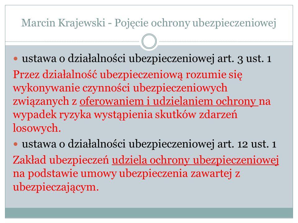 Marcin Krajewski - Pojęcie ochrony ubezpieczeniowej ochrona ubezpieczeniowa w poglądach zwolenników teorii ponoszenia ryzyka – używane określenia: ochrona ubezpieczeniowa, ponoszenie ryzyka, ponoszenie niebezpieczeństwa, ponoszenie ciężaru niebezpieczeństwa, ponoszenie odpowiedzialności wniosek: różne znaczenia używanych pojęć zarówno w języku potocznym, jak i języku prawniczym (np.