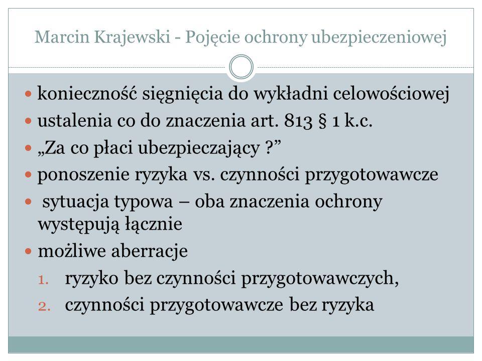 Marcin Krajewski - Pojęcie ochrony ubezpieczeniowej konieczność sięgnięcia do wykładni celowościowej ustalenia co do znaczenia art.