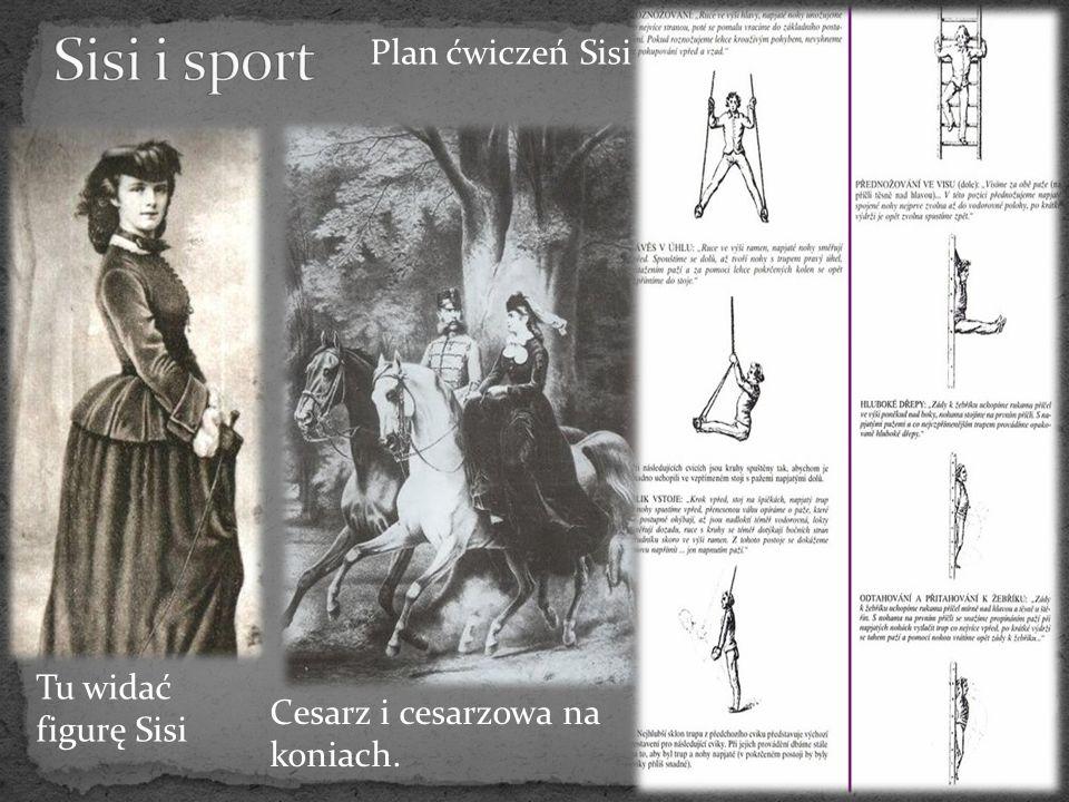 Tu widać figurę Sisi Cesarz i cesarzowa na koniach. Plan ćwiczeń Sisi