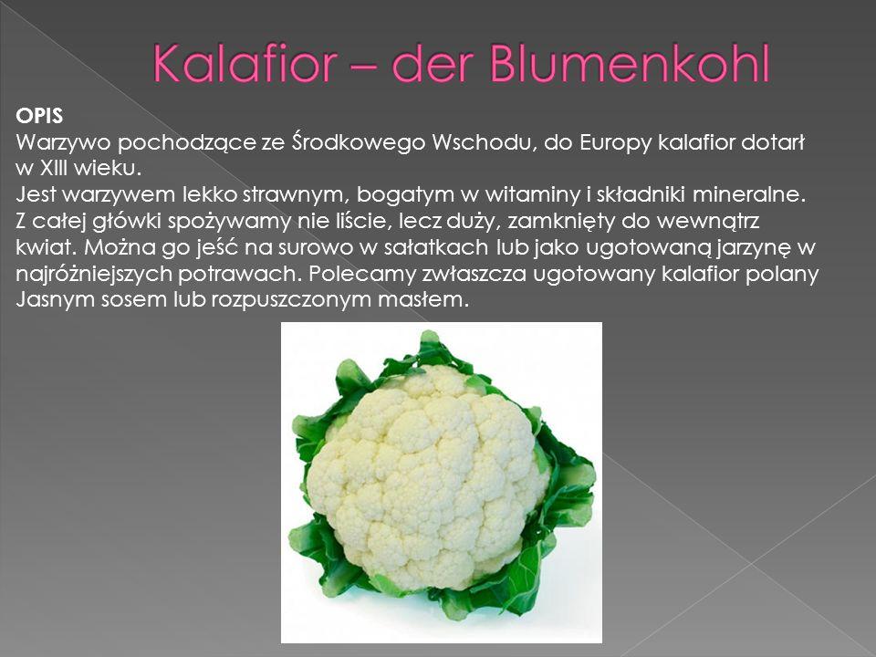 OPIS Warzywo pochodzące ze Środkowego Wschodu, do Europy kalafior dotarł w XIII wieku. Jest warzywem lekko strawnym, bogatym w witaminy i składniki mi