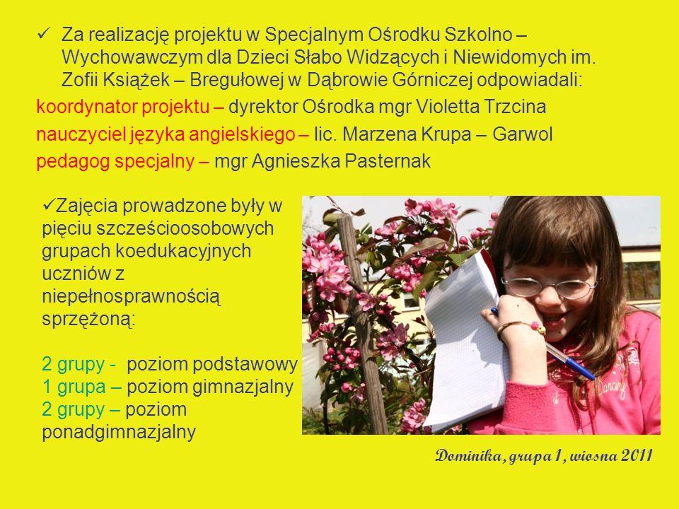 Za realizację projektu w Specjalnym Ośrodku Szkolno – Wychowawczym dla Dzieci Słabo Widzących i Niewidomych im. Zofii Książek – Bregułowej w Dąbrowie