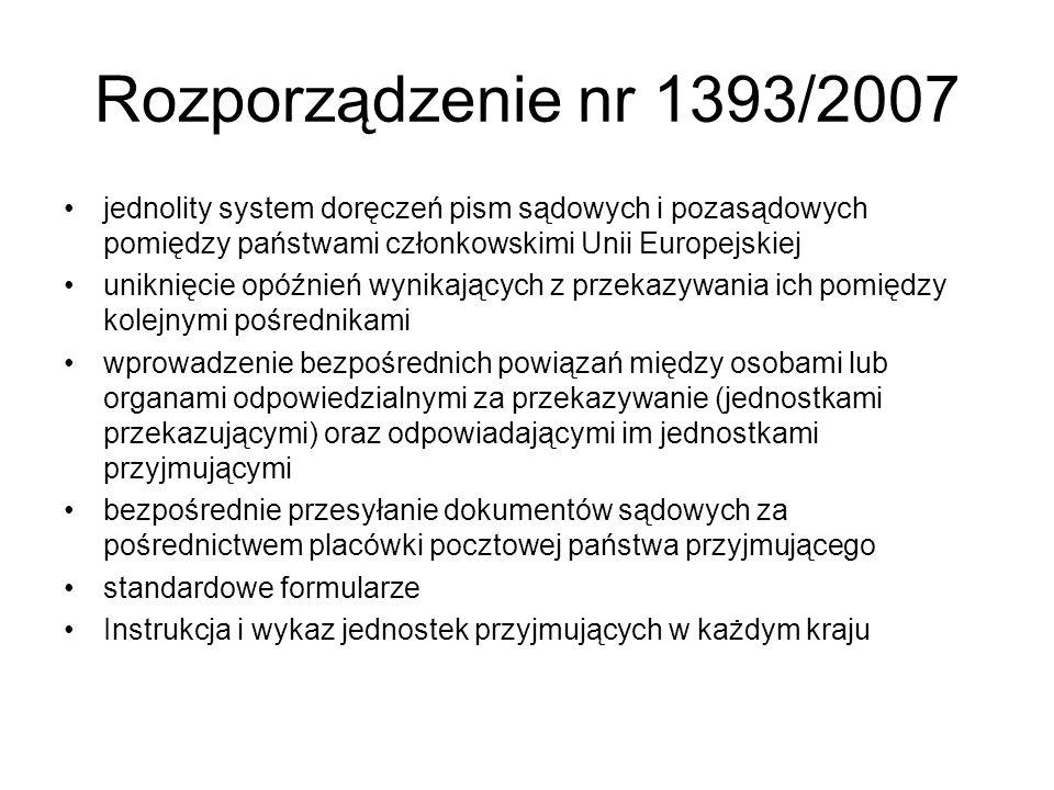 Rozporządzenie nr 1393/2007 jednolity system doręczeń pism sądowych i pozasądowych pomiędzy państwami członkowskimi Unii Europejskiej uniknięcie opóźn
