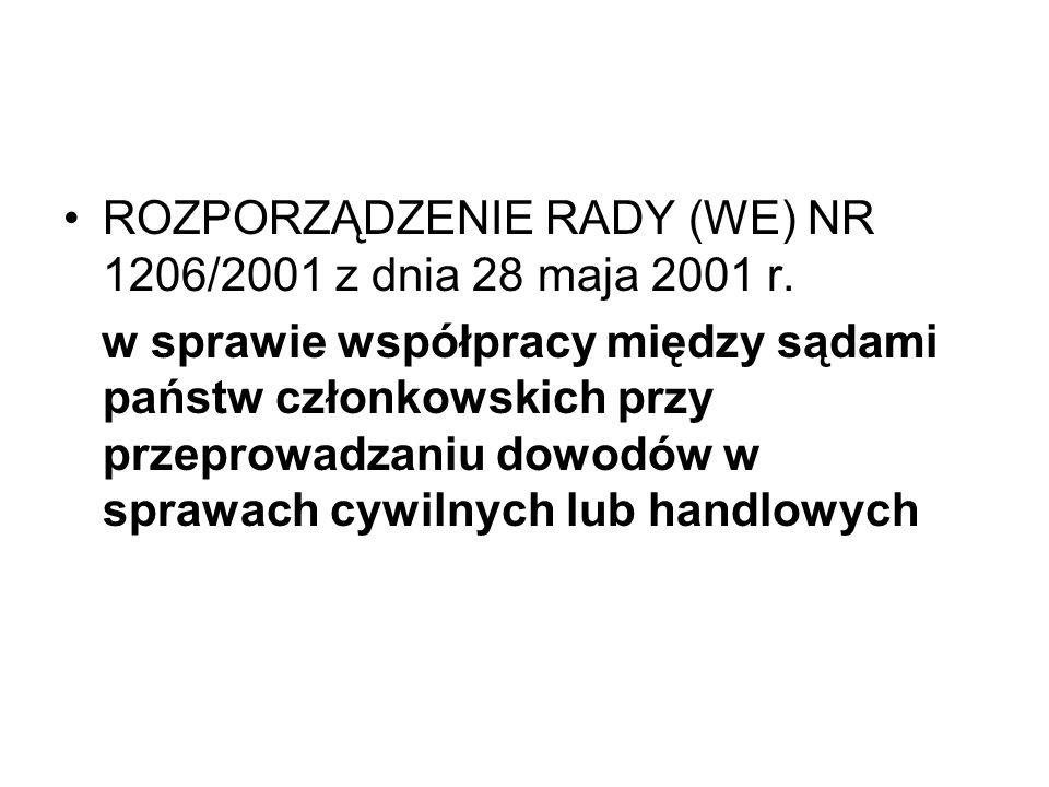 ROZPORZĄDZENIE RADY (WE) NR 1206/2001 z dnia 28 maja 2001 r. w sprawie współpracy między sądami państw członkowskich przy przeprowadzaniu dowodów w sp