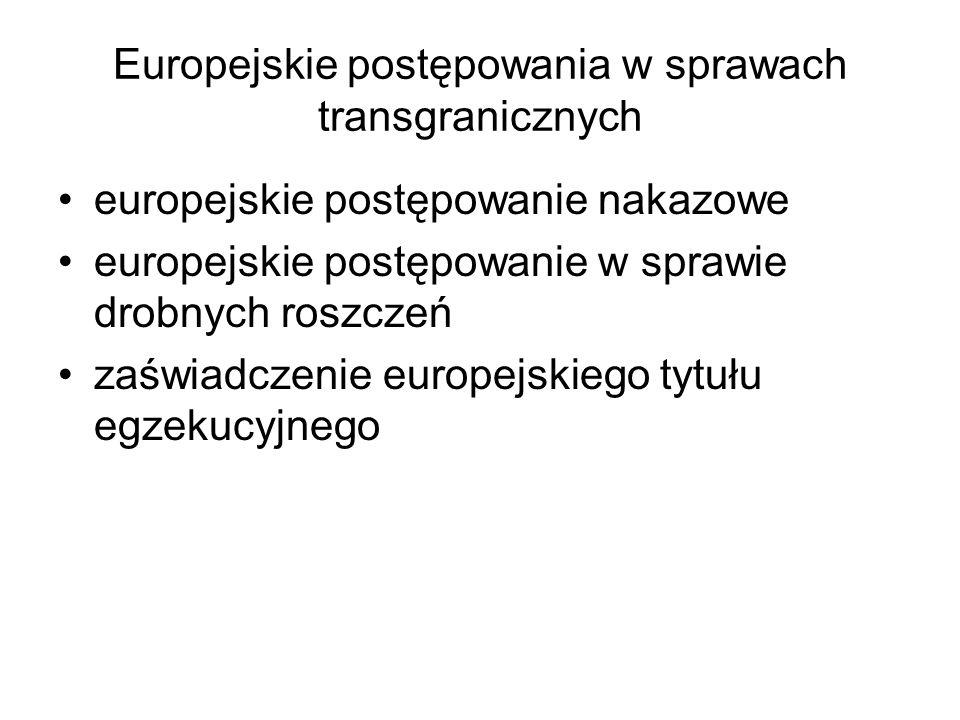 Europejskie postępowania w sprawach transgranicznych europejskie postępowanie nakazowe europejskie postępowanie w sprawie drobnych roszczeń zaświadcze