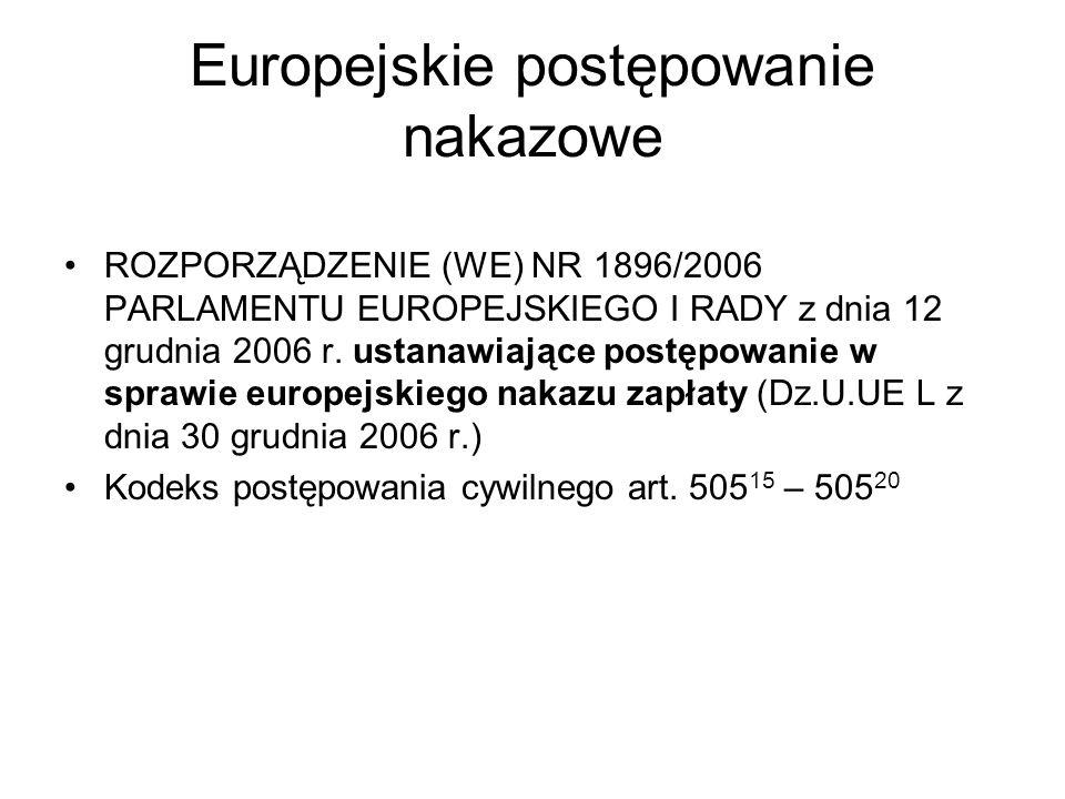 Europejskie postępowanie nakazowe ROZPORZĄDZENIE (WE) NR 1896/2006 PARLAMENTU EUROPEJSKIEGO I RADY z dnia 12 grudnia 2006 r. ustanawiające postępowani