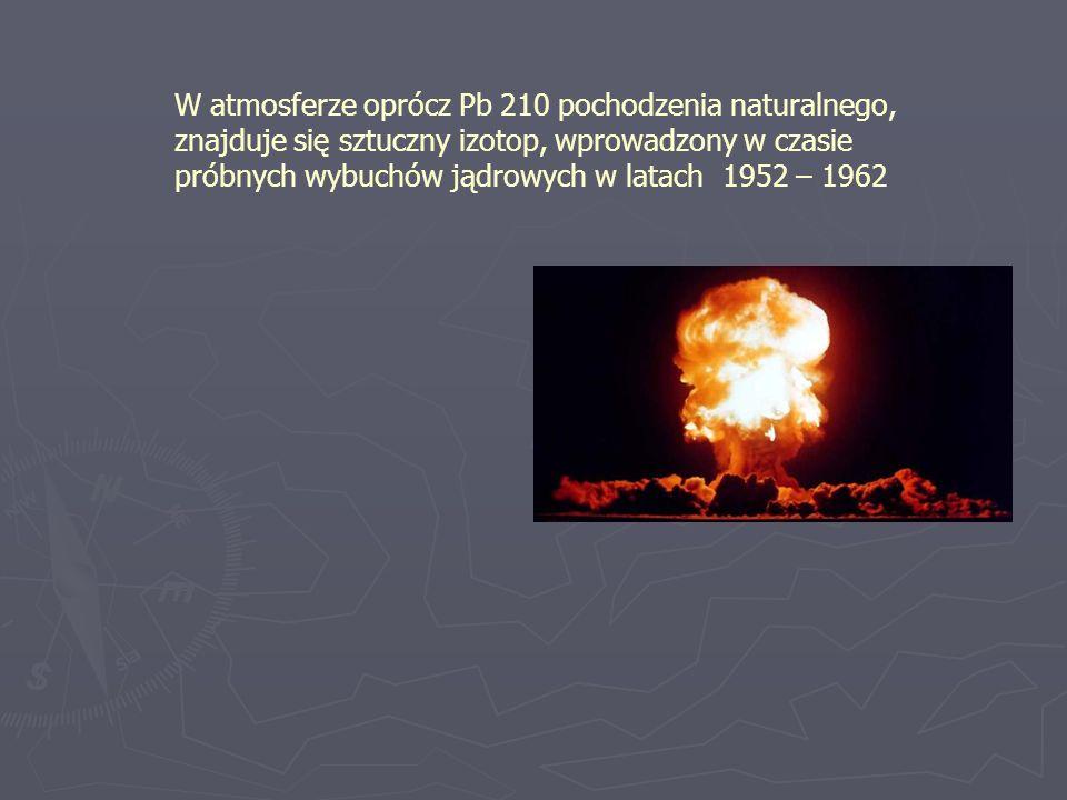 W atmosferze oprócz Pb 210 pochodzenia naturalnego, znajduje się sztuczny izotop, wprowadzony w czasie próbnych wybuchów jądrowych w latach 1952 – 196