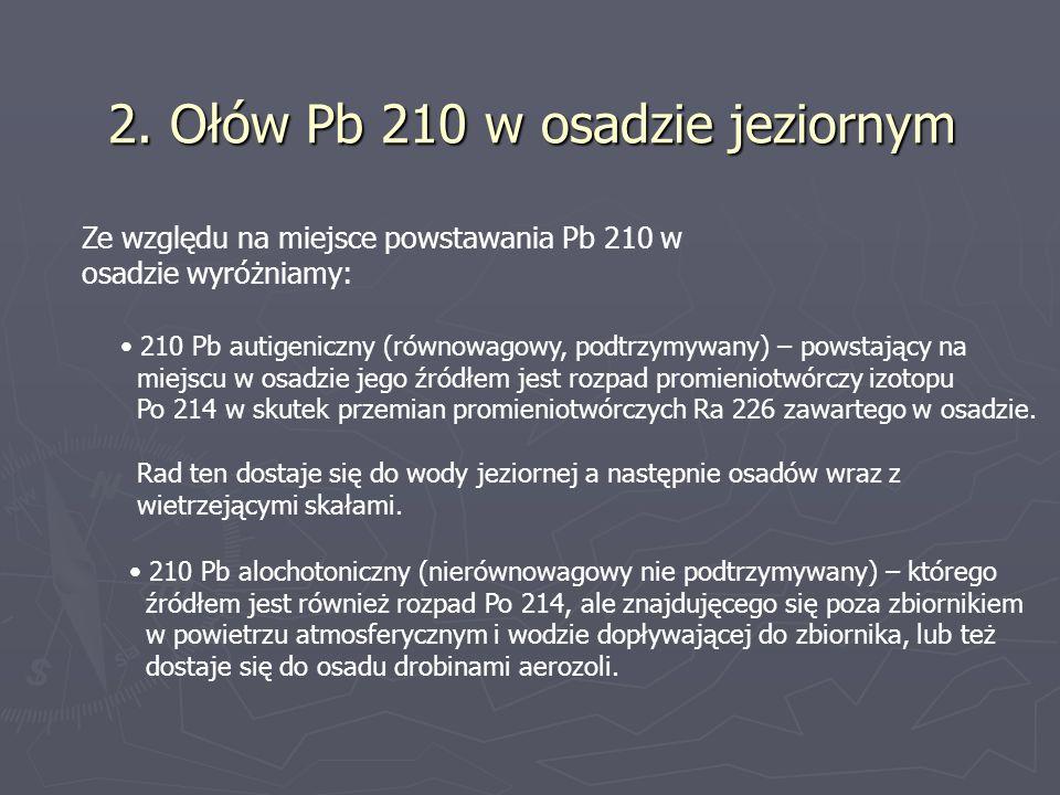 2. Ołów Pb 210 w osadzie jeziornym Ze względu na miejsce powstawania Pb 210 w osadzie wyróżniamy: 210 Pb autigeniczny (równowagowy, podtrzymywany) – p