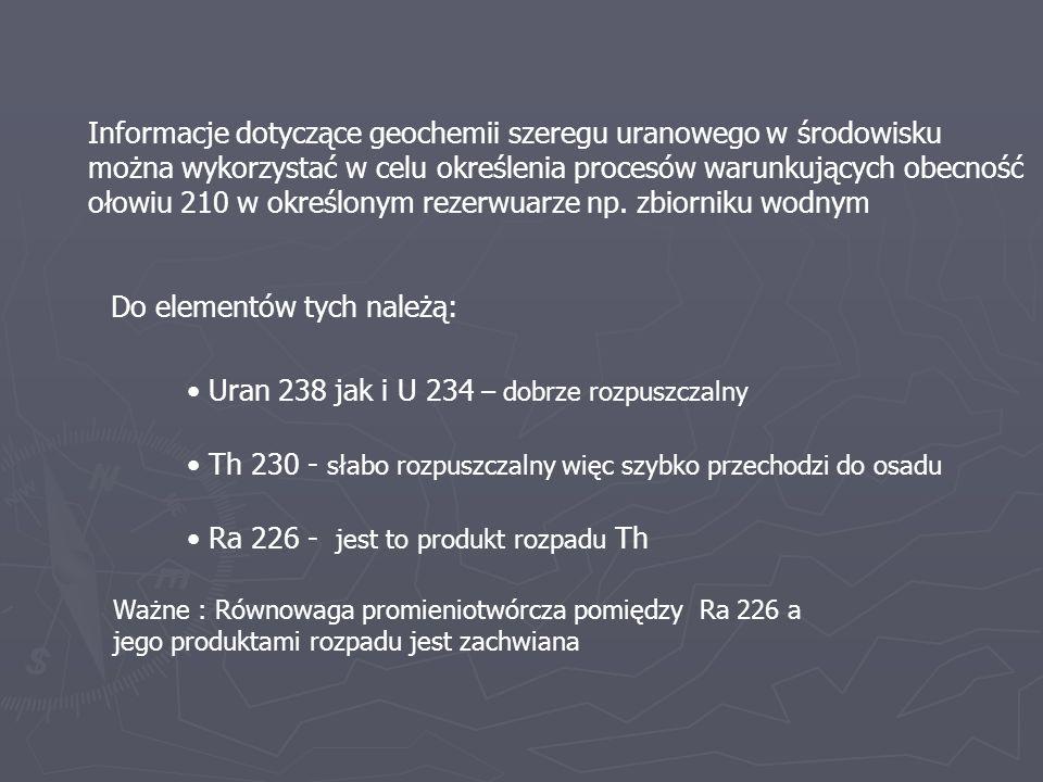 Informacje dotyczące geochemii szeregu uranowego w środowisku można wykorzystać w celu określenia procesów warunkujących obecność ołowiu 210 w określo