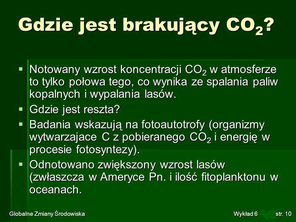 Globalne Zmiany Środowiska Wykład 6str. 10 Gdzie jest brakujący CO 2 ? Notowany wzrost koncentracji CO 2 w atmosferze to tylko połowa tego, co wynika