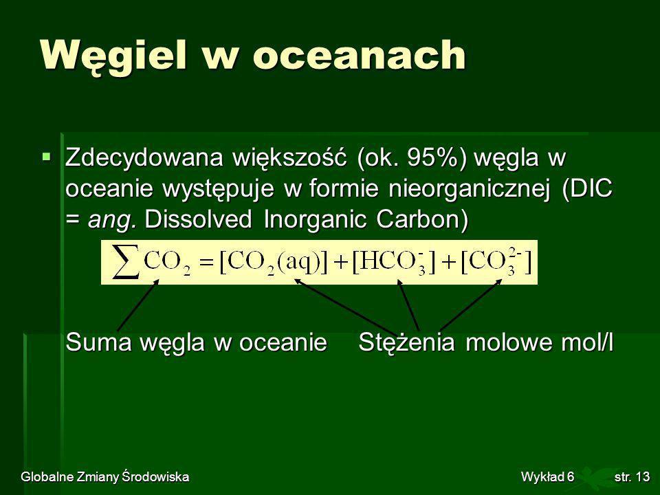 Globalne Zmiany Środowiska Wykład 6str. 13 Węgiel w oceanach Zdecydowana większość (ok. 95%) węgla w oceanie występuje w formie nieorganicznej (DIC =