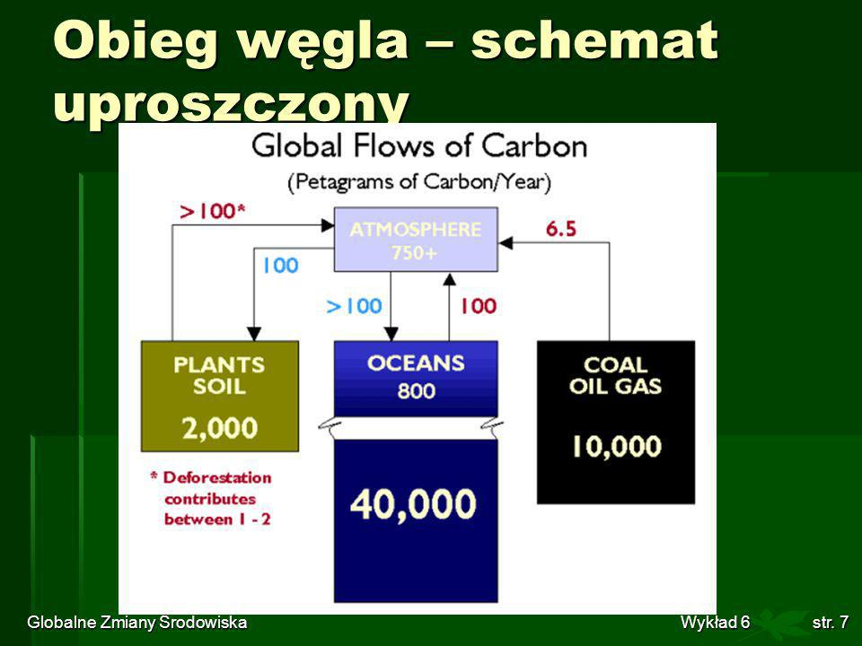 Globalne Zmiany Środowiska Wykład 6str. 7 Obieg węgla – schemat uproszczony