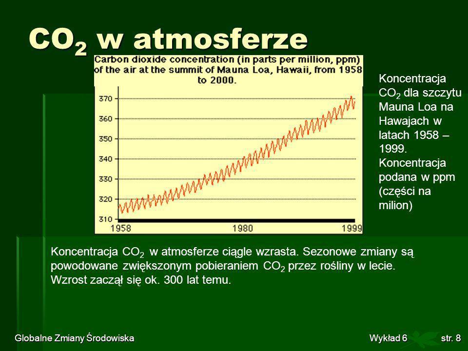 Globalne Zmiany Środowiska Wykład 6str. 8 CO 2 w atmosferze Koncentracja CO 2 w atmosferze ciągle wzrasta. Sezonowe zmiany są powodowane zwiększonym p