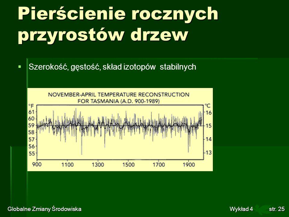 Globalne Zmiany Środowiska Wykład 4str. 25 Szerokość, gęstość, skład izotopów stabilnych Pierścienie rocznych przyrostów drzew